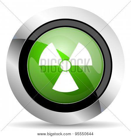 radiation icon, green button, atom sign