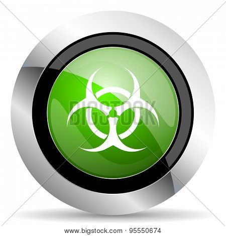 biohazard icon, green button, virus sign