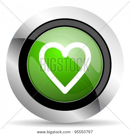 heart icon, green button, love sign