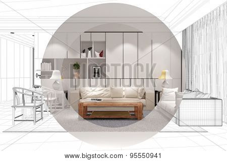 Development and planing of living room with CAD wireframe mesh and color (3D Rendering)