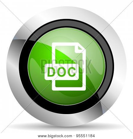 doc file icon, green button