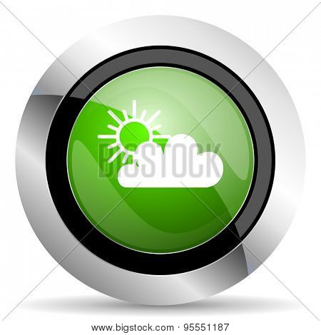 cloud icon, green button, waether forecast sign