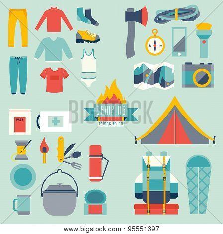 Hikingand camping equipment icon vector set