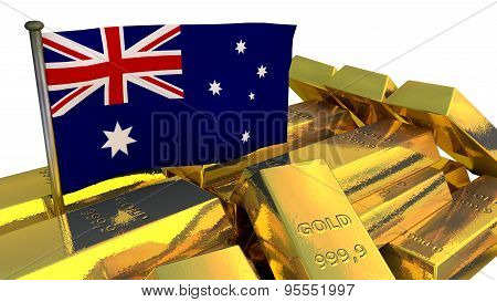 Australian economy concept with gold bullion