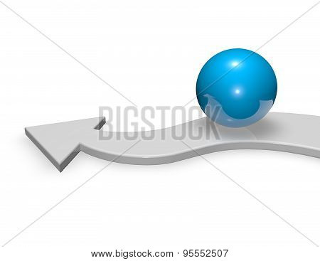 3D Arrow With Shiny Blue Ball, Aiming Target And Objective Abstract Symbol.