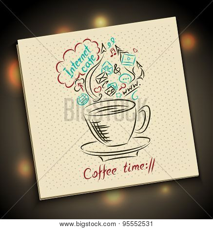 Sketch Concept of coffee time on serviette