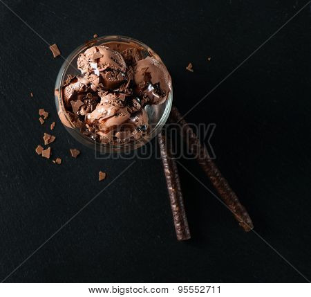 Chocolate Ice Cream With Wafer Sticks, View From Above