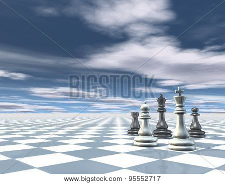 Surreal Abstract Blue Background With Chess Pieces, Chessboard And Blue Sky With Clouds.