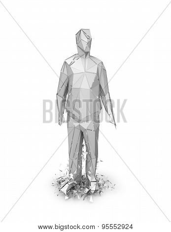 3D Abstract Geometric Person Chattered, Stress And Fear Idea Illustration.