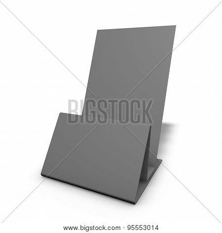 Empty, Grey Leaflet Stand Isolated On White.