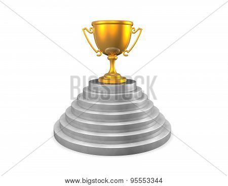 Gold Trophy Cup On Stage, Winner And Winning Concept Illustration.