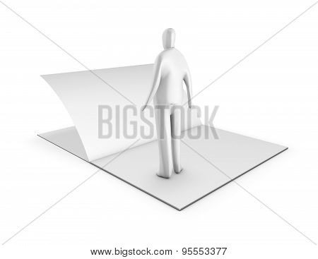3D Man Turning Page, Changes In Life Abstract Symbol.