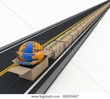 Import and export arrow around earth and stream of cardboard boxes on road. Concept of buying goods worldwide. 3d illustration on white background