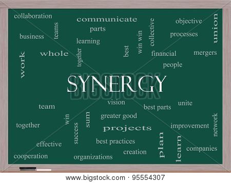 Synergy Word Cloud Concept On A Blackboard