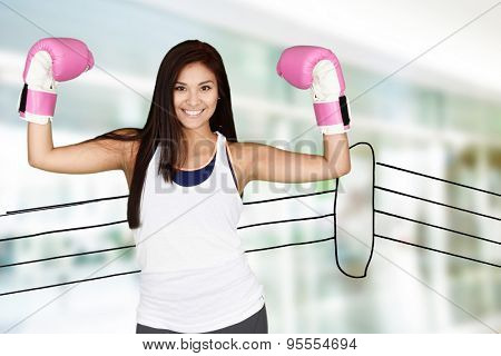 Woman who is doing a kick boxing workout