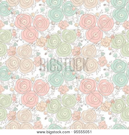 Vector Floral Seamless Pattern With Blooming Roses