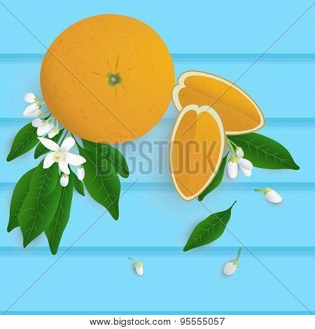 Whole Orange Fruit With Leaf, Slice And Flower On Wood Background