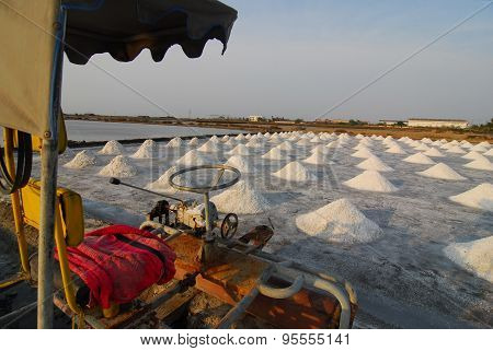 Naklua Mass of salt in salt seaside farm, Petchaburi Province Thailand Asia