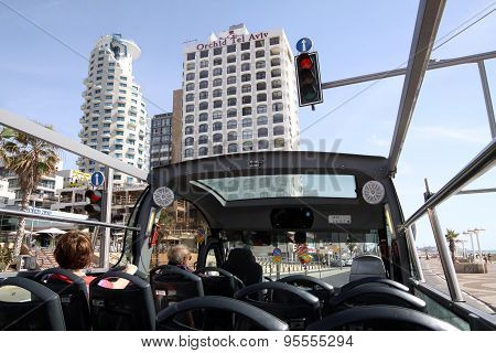 Sightseeing Bus On The Promenade In Tel Aviv