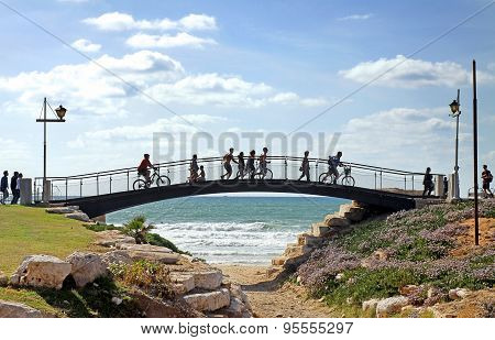 Footbridge On The Seafront In Tel Aviv