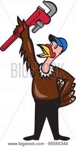 Turkey Plumber Raising Wrench Standing Cartoon