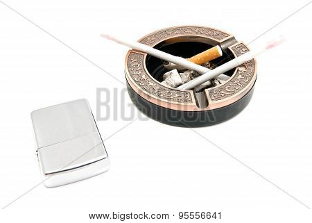 Lighter And Ashtray With Two Cigarettes