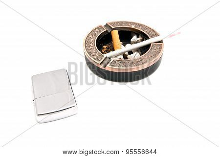 Lighter And Ashtray With Cigarette