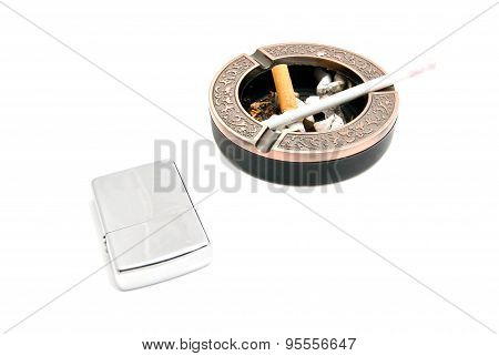 Metal Lighter And Ashtray With Cigarette