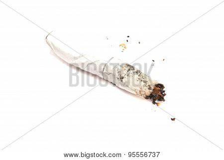 Cigarette Butt With Filter On White