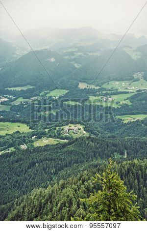 Aerial view of green fir trees and grassy fields in a misty mountaineous landscape