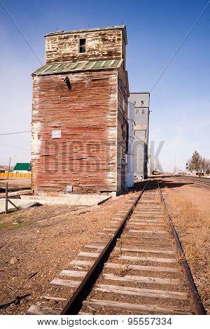 Forgotten Railroad Siding Train Tracks Wood Silo Building