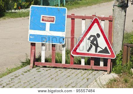 City Street Road Repair Signs