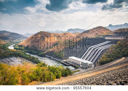 Srinagarind Dam, the power station on the Khwae Yai river in Kanchanaburi Province, Thailand