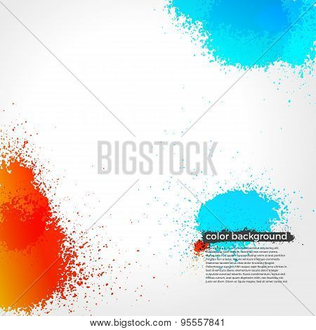 Red, Orange And Blue Splatter Paint Grunge Bright Background