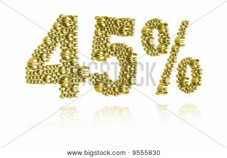 3D Illustration Of Forty-five Percent