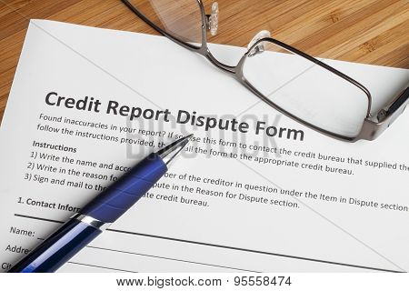 Credit Report Dispute Score Form
