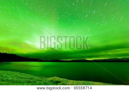 Aurora Borealis Sky Frozen Lake Laberge Yukon