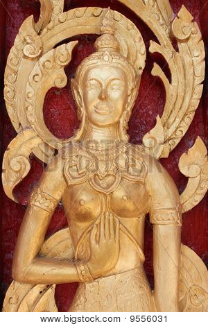 Buddhist Art Always Seen On Door Of Buddhist Temple And Architecture
