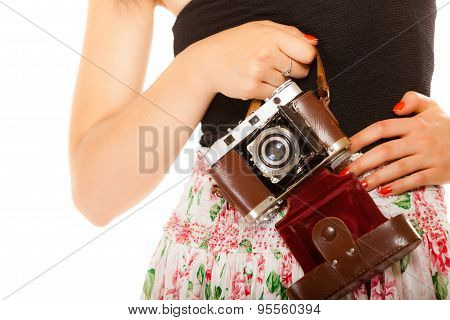 Old Camera In Female Hands