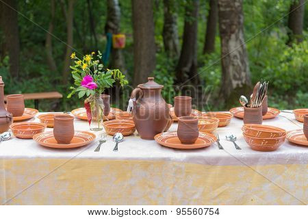 Table With Pottery