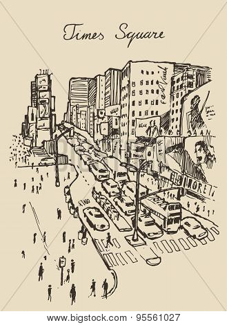 street in New York city illustration hand drawn