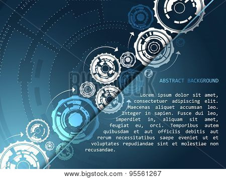 Abstract technology vector background with gear wheels and arrows