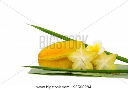 Yellow Carambola Fruit Isolated On White Background