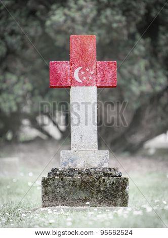 Gravestone In The Cemetery - Singapore