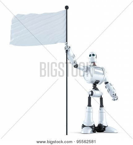 Robot With Waving Blank Flag. Isolated. Contains Clipping Path