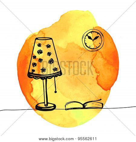 Lamp and book on the table. Hand drawn doodles at yellow watercolor background. Vector illustration