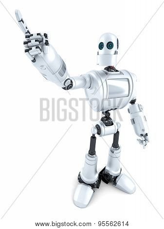 Robot Pointing On Something. Isolated. Contains Clipping Path