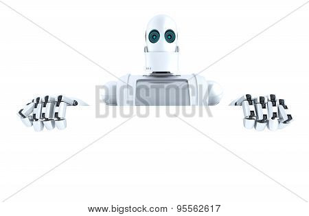Robot Holding A Blank Banner. Isolated. Contains Clipping Path