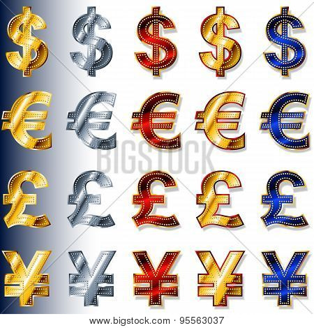 Currency Monetary Sign Icon Dollar Usd Euro Eur Pound Gbp Yen Jpy