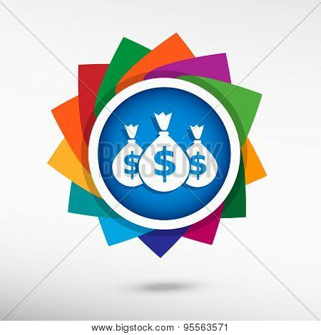 Money Icon With Three Bags.